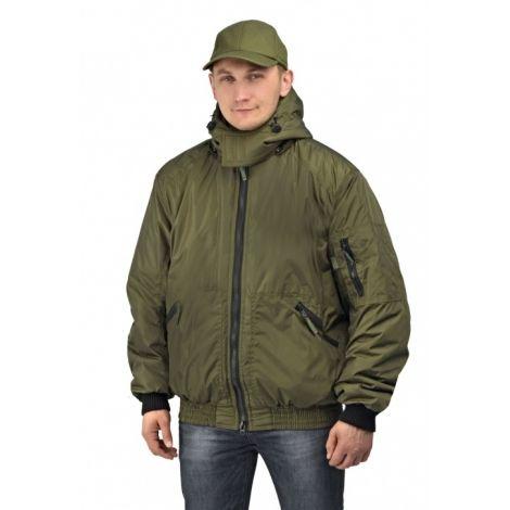 "Куртка мужская ""Бомбер"" демисезонная тк.Джордан хаки (с капюшоном)"