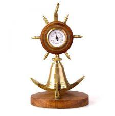 Звонок Якорь с барометром на подставке
