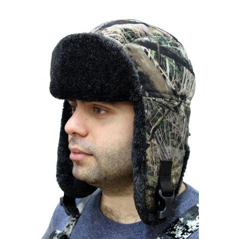 Шапка-ушанка «Умка» (ткань: алова, цвет: темный лес)