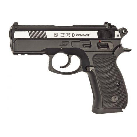Пневматический пистолет ASG CZ-75 D Compact пластик, подвижный никелированный металлический затвор 4,5 мм