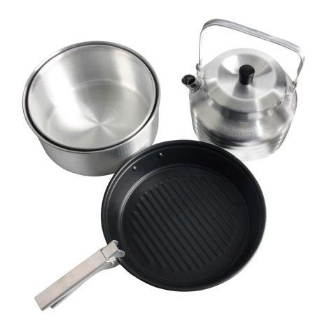 Набор посуды для 4х (2 кастрюли, чайник, сковорода)