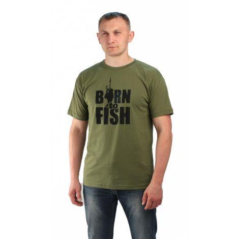 "Футболка цв.хаки. Принт ""Born to fish"""
