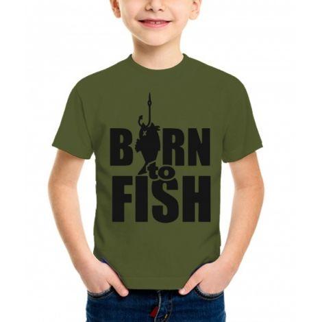 "Футболка детская ""Born to fish"" цв.хаки"