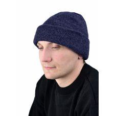 Шапка трикотажная т-синяя, двойная вязка, 6 класс