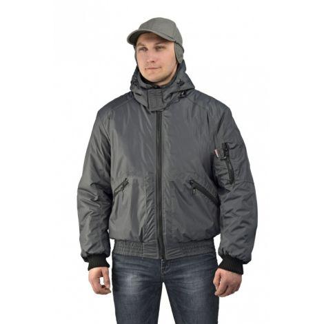 """Куртка мужская """"Бомбер"""" демисезонная тк.Джордан серая (с капюшоном)"""