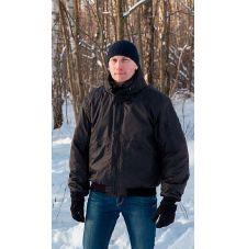 """Куртка мужская """"Бомбер"""" демисезонная тк.Дюспа чёрная (с капюшоном)"""