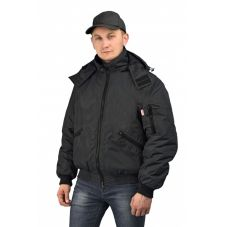 """Куртка мужская """"Бомбер"""" демисезонная тк.Джордан чёрная (с капюшоном)"""